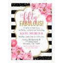 fifty and fabulous pink gold floral 50th birthday invitation