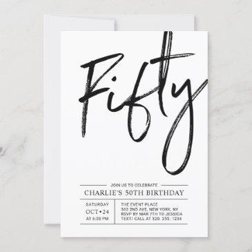 fifty   modern 50th birthday party invitation