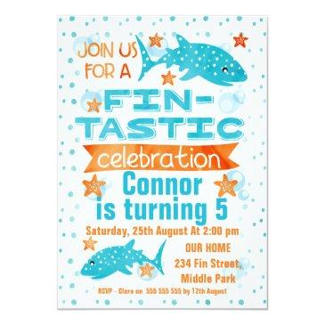Small Fin-tastic Whale Shark Birthday Invitation Front View