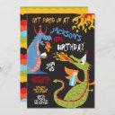 fire breathing dragons birthday party invitation