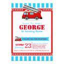 fire engine birthday party invitation
