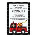 fire engine birthday with photo invitation
