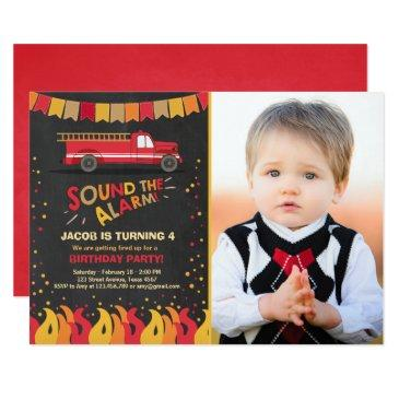 fire truck firefighter birthday invitation boy