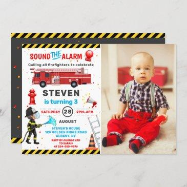 fire truck firefighter birthday party photo invitation