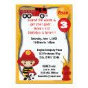 fire truck firefighter dalmatian birthday ff01a invitation
