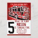 fire truck firefighter kids birthday invitations
