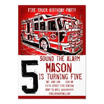 fire truck firefighter kids birthday invitations