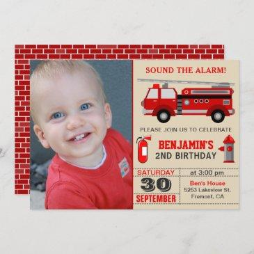 fire truck kids photo birthday party invitation