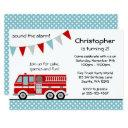 fire truck polka dot banner boy birthday party invitations