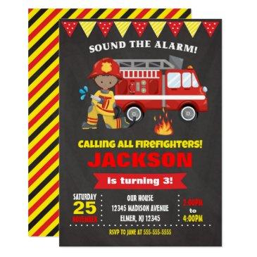 firefighter birthday invitation chalkboard
