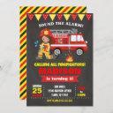 firefighter birthday invitation girl chalkboard