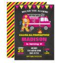 firefighter birthday invitations girl pink