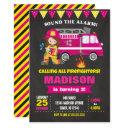 firefighter birthday invitation girl pink