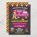 firefighter birthday invitation girl pink