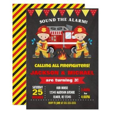 firefighter birthday invitations joint chalkboard