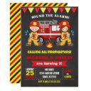 firefighter birthday invitation joint girl boy