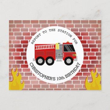 firefighter bricks firetruck flames birthday invitation postinvitations