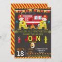 firefighter fire truck chalkboard birthday party invitation