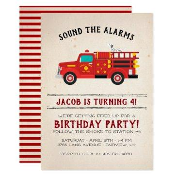 firefighter kids birthday invitations