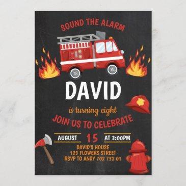 fireman boy chalkboard firetruck birthday invitation