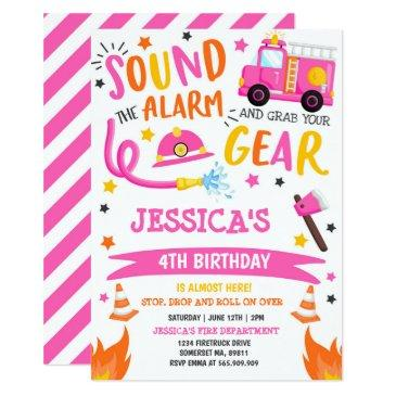 firetruck birthday party pink firefighter invitation