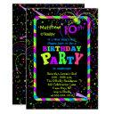 fireworks confetti new year's 10th birthday party invitations