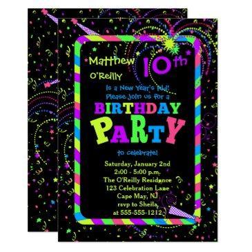 fireworks confetti new year's 10th birthday party invitation