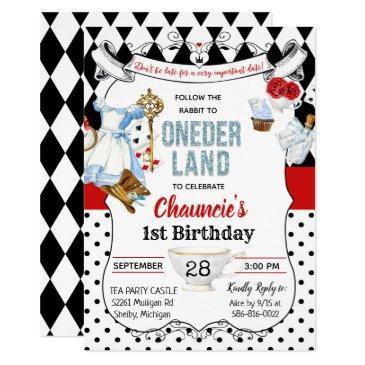 first birthday alice in wonderland invitations