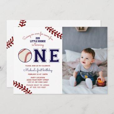 first birthday baseball photo invitation