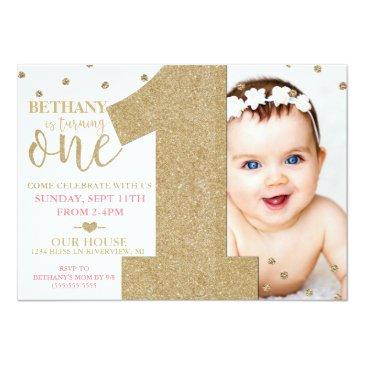 Small First Birthday Faux Gold Glitter & Pink Invitations Front View