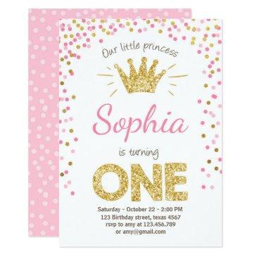 first birthday invitations princess gold pink