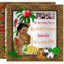 first birthday leopard jungle safari wild ethnic invitations