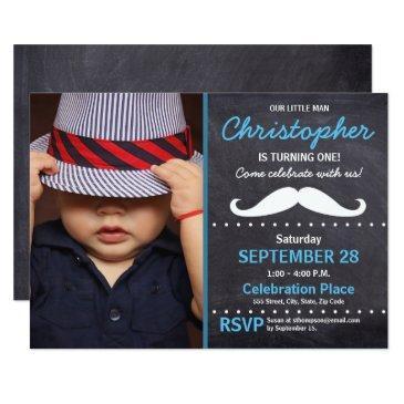 first birthday party, mustache theme, photo invitation