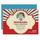 first birthday party red blue circus photo invitation
