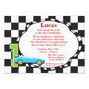 first birthday racecar invitation, checkered invitation