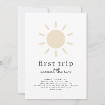 first trip around the sun 1st birthday invitation