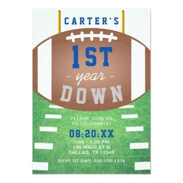 Small First Year Down Football Theme 1st Birthday Party Invitation Front View