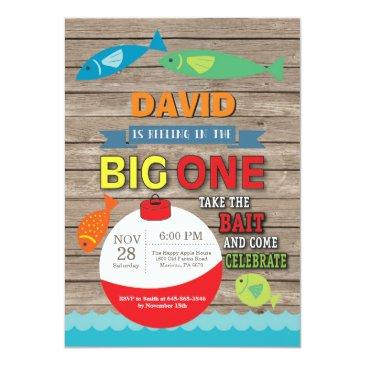 fishing first birthday invitations big one rustic