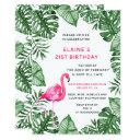 flamingo 21st birthday party invitations