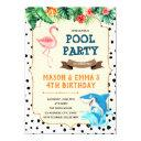 flamingo and shark party invitation