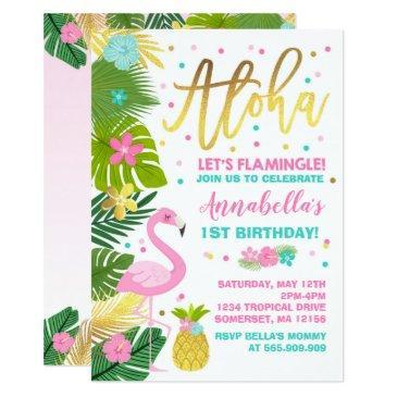 flamingo birthday invitations topical luau party