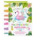 flamingo & mermaid pool party invitation tropical