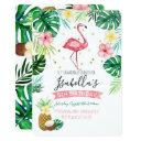 flamingo pineapple birthday party invitations