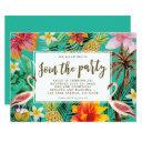 flamingo tropical birthday party bbq invitation