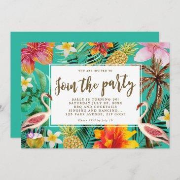 flamingo tropical birthday party bbq invitation