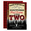 flannel lumberjack birthday party invitation two