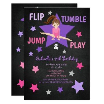 flip, tumble, jump, & play gymnastics birthday invitation