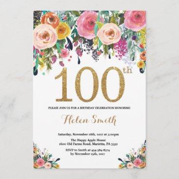 floral 100th birthday invitation gold glitter