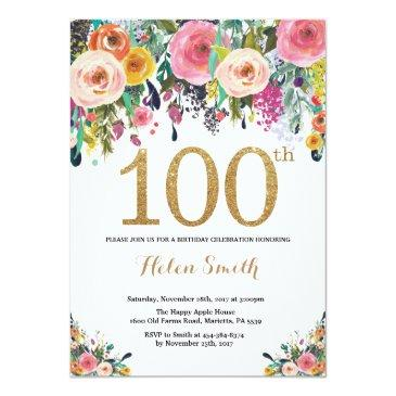 floral 100th birthday invitations gold glitter