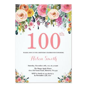 floral 100th birthday invitation pink
